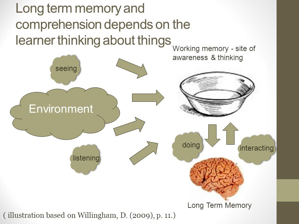 Long term memory and comprehension depends on the learner thinking about things Environment Working memory - site of awareness & thinking Long Term Memory ( illustration based on Willingham, D.