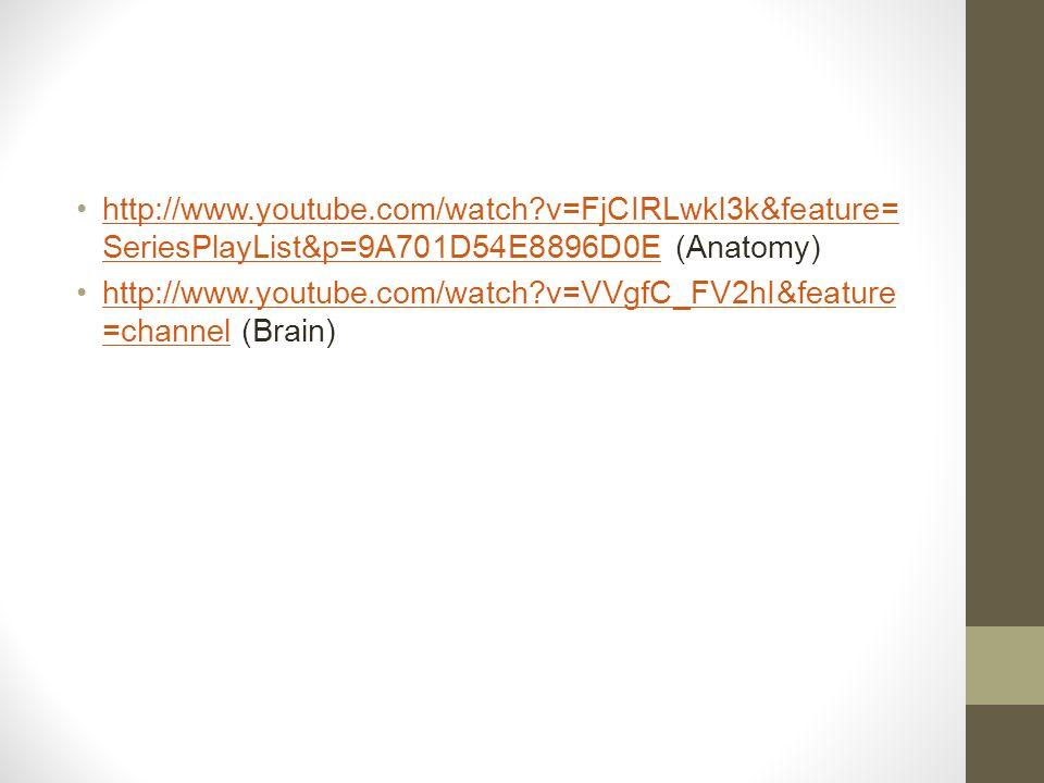 http://www.youtube.com/watch?v=FjCIRLwkl3k&feature= SeriesPlayList&p=9A701D54E8896D0E (Anatomy)http://www.youtube.com/watch?v=FjCIRLwkl3k&feature= SeriesPlayList&p=9A701D54E8896D0E http://www.youtube.com/watch?v=VVgfC_FV2hI&feature =channel (Brain)http://www.youtube.com/watch?v=VVgfC_FV2hI&feature =channel