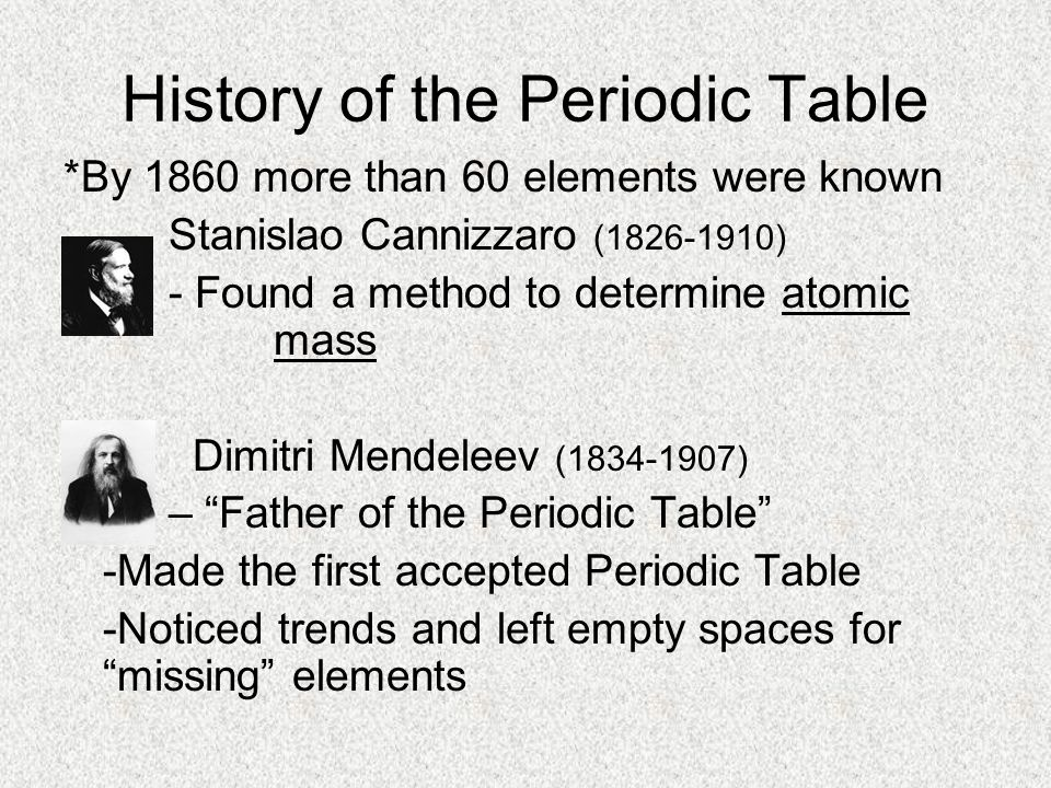 History of the Periodic Table *By 1860 more than 60 elements were known Stanislao Cannizzaro (1826-1910) - Found a method to determine atomic mass Dim