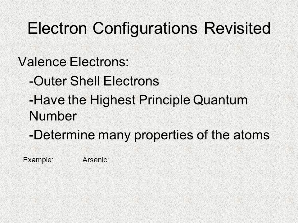 Electron Configurations Revisited Valence Electrons: -Outer Shell Electrons -Have the Highest Principle Quantum Number -Determine many properties of t