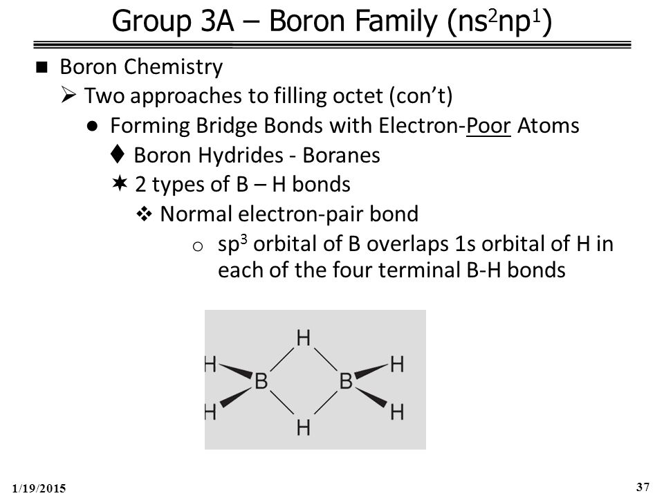1/19/2015 37 Group 3A – Boron Family (ns 2 np 1 ) Boron Chemistry  Two approaches to filling octet (con't) ●Forming Bridge Bonds with Electron-Poor Atoms  Boron Hydrides - Boranes  2 types of B – H bonds  Normal electron-pair bond o sp 3 orbital of B overlaps 1s orbital of H in each of the four terminal B-H bonds