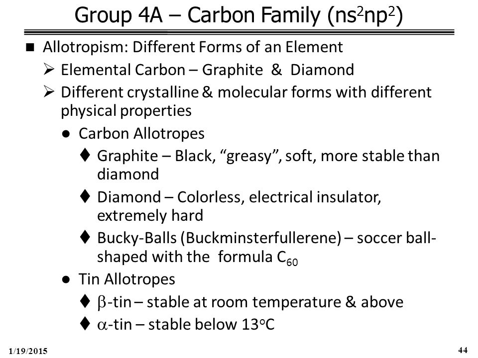 1/19/2015 44 Group 4A – Carbon Family (ns 2 np 2 ) Allotropism: Different Forms of an Element  Elemental Carbon – Graphite & Diamond  Different crystalline & molecular forms with different physical properties ●Carbon Allotropes  Graphite – Black, greasy , soft, more stable than diamond  Diamond – Colorless, electrical insulator, extremely hard  Bucky-Balls (Buckminsterfullerene) – soccer ball- shaped with the formula C 60 ●Tin Allotropes   -tin – stable at room temperature & above   -tin – stable below 13 o C