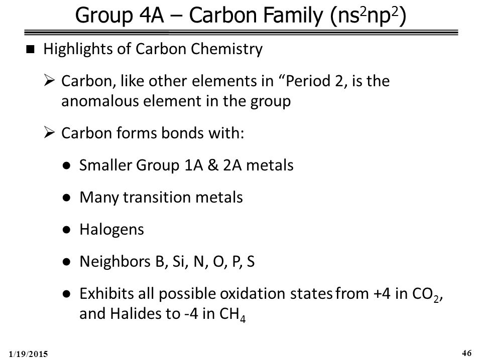 1/19/2015 46 Group 4A – Carbon Family (ns 2 np 2 ) Highlights of Carbon Chemistry  Carbon, like other elements in Period 2, is the anomalous element in the group  Carbon forms bonds with: ●Smaller Group 1A & 2A metals ●Many transition metals ●Halogens ●Neighbors B, Si, N, O, P, S ●Exhibits all possible oxidation states from +4 in CO 2, and Halides to -4 in CH 4