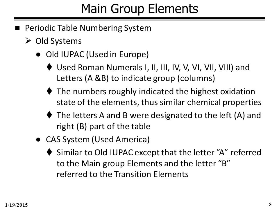 1/19/2015 5 Main Group Elements Periodic Table Numbering System  Old Systems ●Old IUPAC (Used in Europe)  Used Roman Numerals I, II, III, IV, V, VI, VII, VIII) and Letters (A &B) to indicate group (columns)  The numbers roughly indicated the highest oxidation state of the elements, thus similar chemical properties  The letters A and B were designated to the left (A) and right (B) part of the table ●CAS System (Used America)  Similar to Old IUPAC except that the letter A referred to the Main group Elements and the letter B referred to the Transition Elements