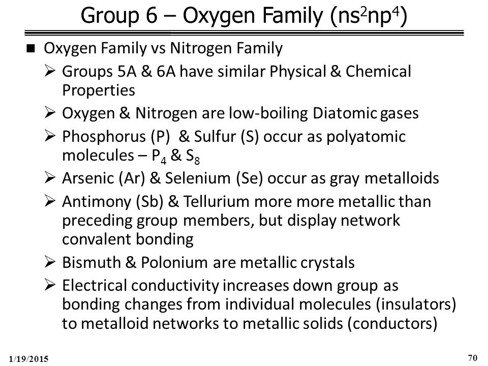 1/19/2015 70 Group 6 – Oxygen Family (ns 2 np 4 ) Oxygen Family vs Nitrogen Family  Groups 5A & 6A have similar Physical & Chemical Properties  Oxygen & Nitrogen are low-boiling Diatomic gases  Phosphorus (P) & Sulfur (S) occur as polyatomic molecules – P 4 & S 8  Arsenic (Ar) & Selenium (Se) occur as gray metalloids  Antimony (Sb) & Tellurium more more metallic than preceding group members, but display network convalent bonding  Bismuth & Polonium are metallic crystals  Electrical conductivity increases down group as bonding changes from individual molecules (insulators) to metalloid networks to metallic solids (conductors)