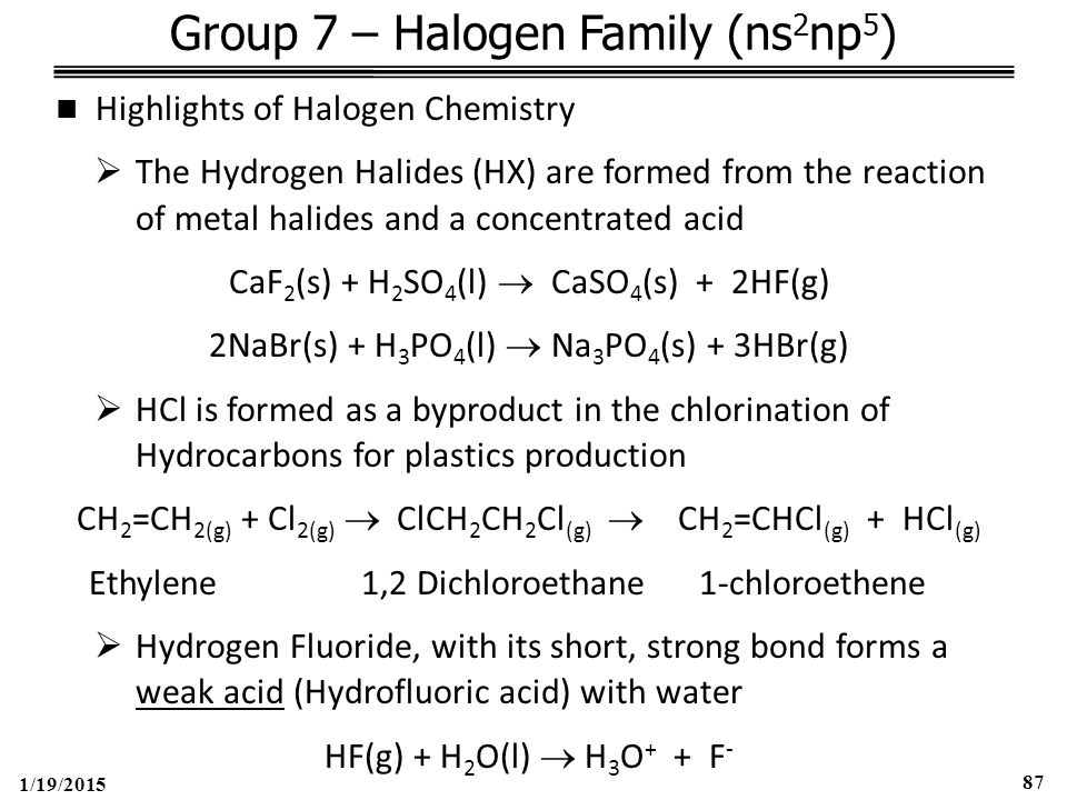 1/19/2015 87 Group 7 – Halogen Family (ns 2 np 5 ) Highlights of Halogen Chemistry  The Hydrogen Halides (HX) are formed from the reaction of metal halides and a concentrated acid CaF 2 (s) + H 2 SO 4 (l)  CaSO 4 (s) + 2HF(g) 2NaBr(s) + H 3 PO 4 (l)  Na 3 PO 4 (s) + 3HBr(g)  HCl is formed as a byproduct in the chlorination of Hydrocarbons for plastics production CH 2 =CH 2(g) + Cl 2(g)  ClCH 2 CH 2 Cl (g)  CH 2 =CHCl (g) + HCl (g) Ethylene 1,2 Dichloroethane 1-chloroethene  Hydrogen Fluoride, with its short, strong bond forms a weak acid (Hydrofluoric acid) with water HF(g) + H 2 O(l)  H 3 O + + F -