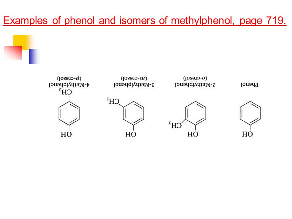 Examples of phenol and isomers of methylphenol, page 719.