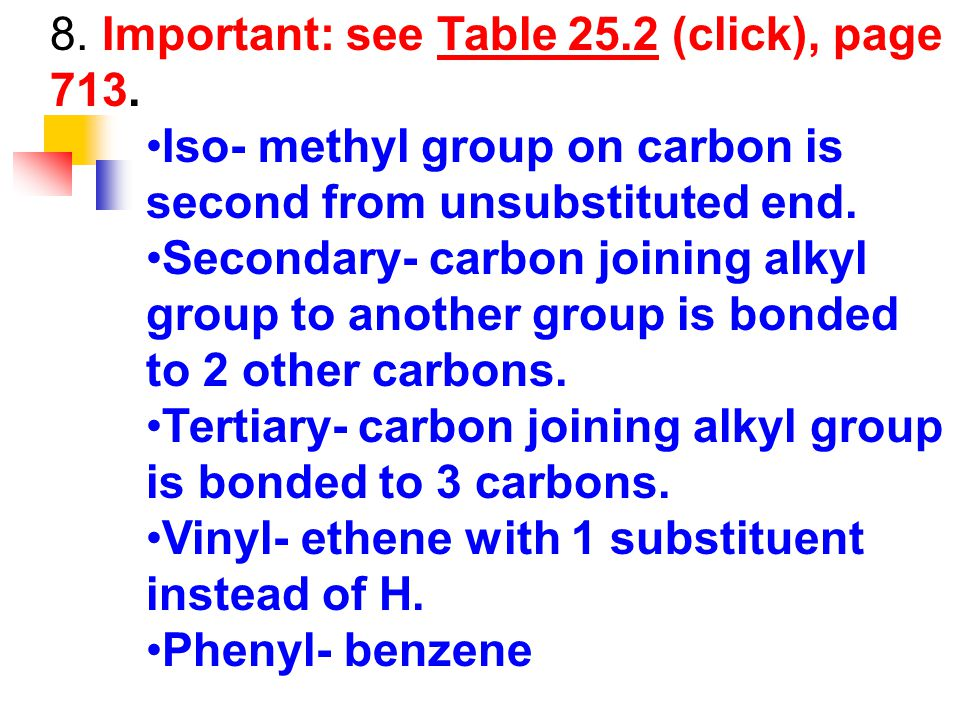 8. Important: see Table 25.2 (click), page 713.Table 25.2 Iso- methyl group on carbon is second from unsubstituted end. Secondary- carbon joining alky