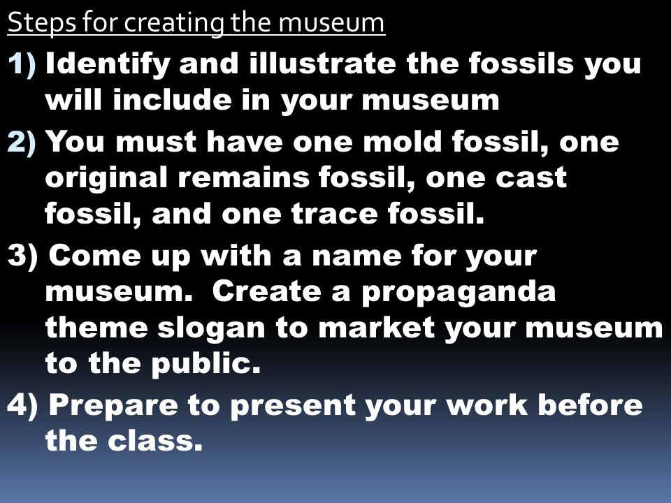 Steps for creating the museum 1) Identify and illustrate the fossils you will include in your museum 2) You must have one mold fossil, one original re