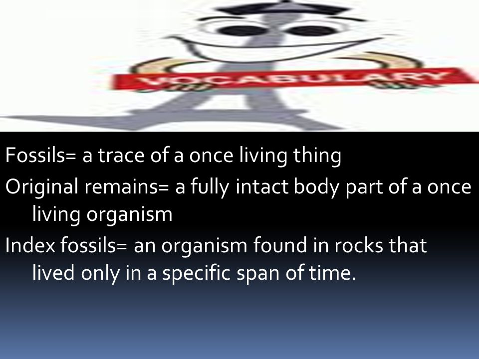 Fossils= a trace of a once living thing Original remains= a fully intact body part of a once living organism Index fossils= an organism found in rocks that lived only in a specific span of time.