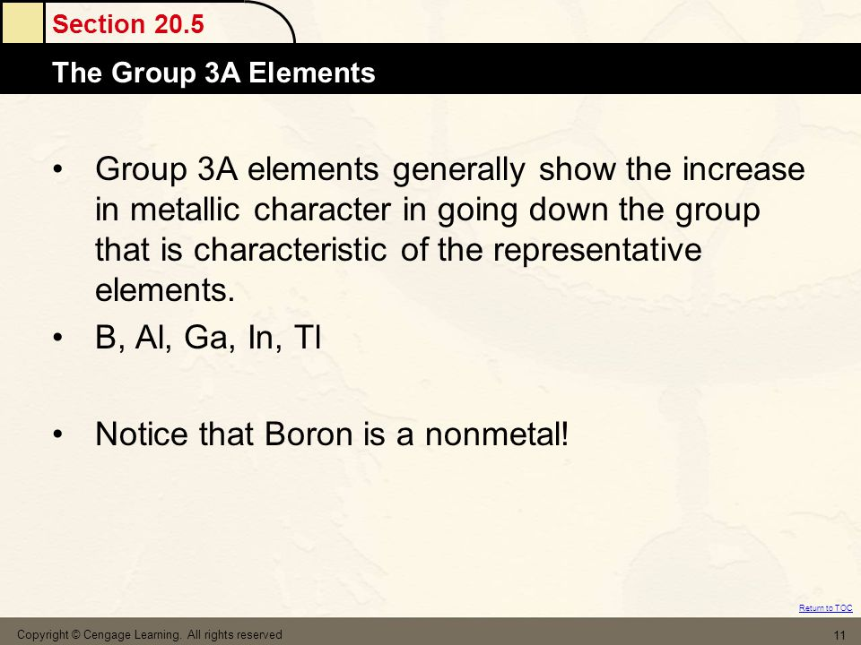 Section 20.5 The Group 3A Elements Return to TOC Copyright © Cengage Learning. All rights reserved 11 Group 3A elements generally show the increase in