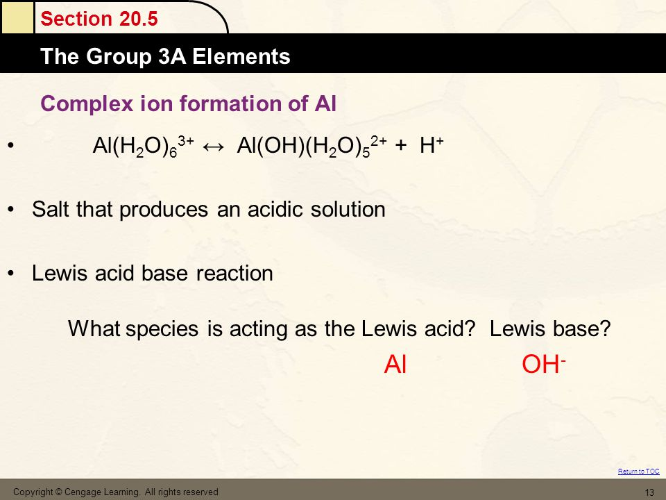 Section 20.5 The Group 3A Elements Return to TOC Complex ion formation of Al Al(H 2 O) 6 3+ ↔ Al(OH)(H 2 O) 5 2+ + H + Salt that produces an acidic solution Lewis acid base reaction Copyright © Cengage Learning.
