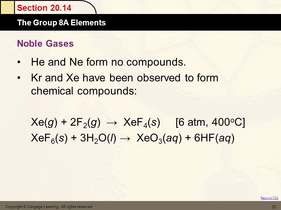 Section 20.14 The Group 8A Elements Return to TOC Of course there are more reaction types to consider Refer to Packet from Winter Break for more reaction types (Ch 9, 10, 13 Chemical Equations Handouts) Copyright © Cengage Learning.