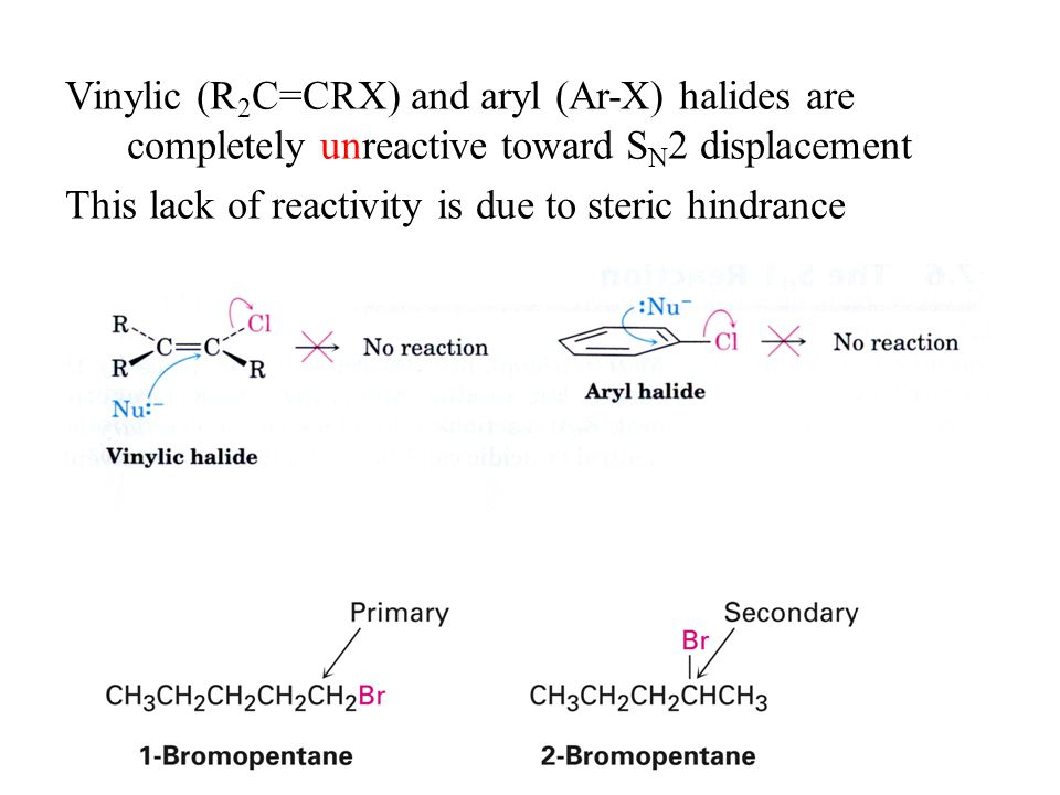 Vinylic (R 2 C=CRX) and aryl (Ar-X) halides are completely unreactive toward S N 2 displacement This lack of reactivity is due to steric hindrance