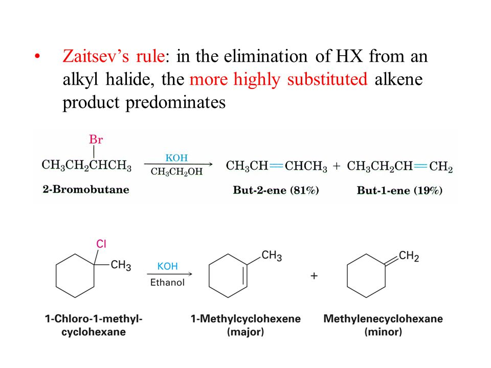 Zaitsev's rule: in the elimination of HX from an alkyl halide, the more highly substituted alkene product predominates