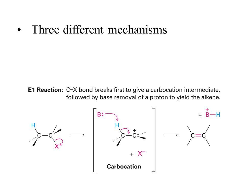 Three different mechanisms