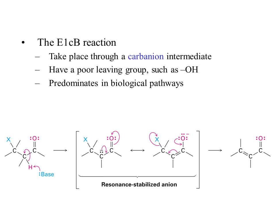 The E1cB reaction –Take place through a carbanion intermediate –Have a poor leaving group, such as –OH –Predominates in biological pathways