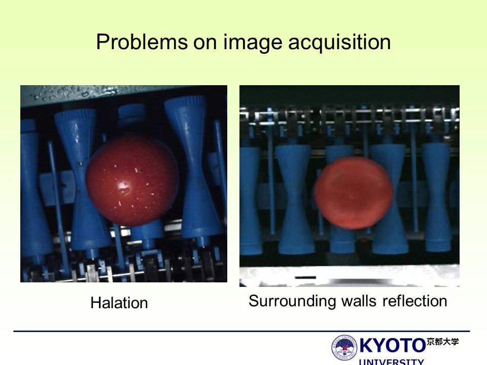 KYOTO UNIVERSITY 京都大学 Problems on image acquisition Halation Surrounding walls reflection