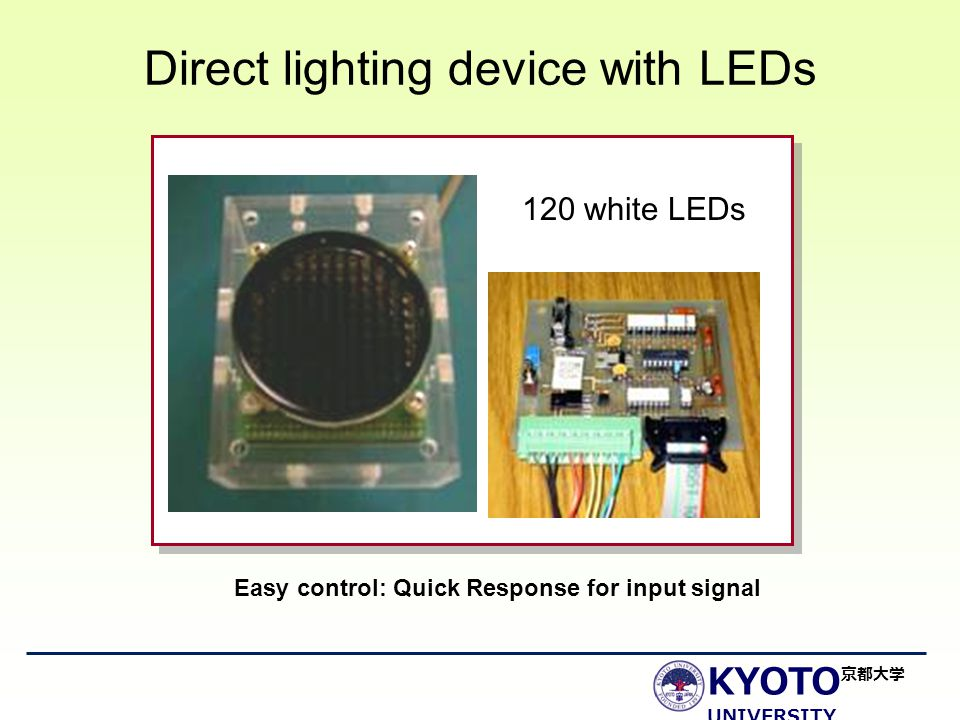KYOTO UNIVERSITY 京都大学 Direct lighting device with LEDs 120 white LEDs Easy control: Quick Response for input signal