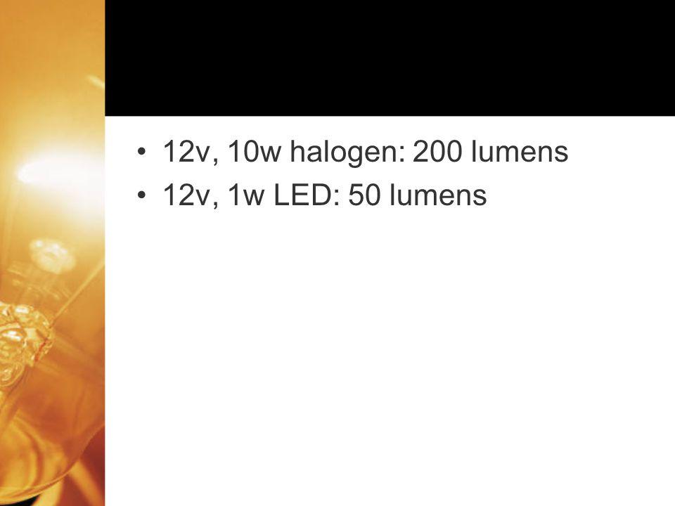 12v, 10w halogen: 200 lumens 12v, 1w LED: 50 lumens
