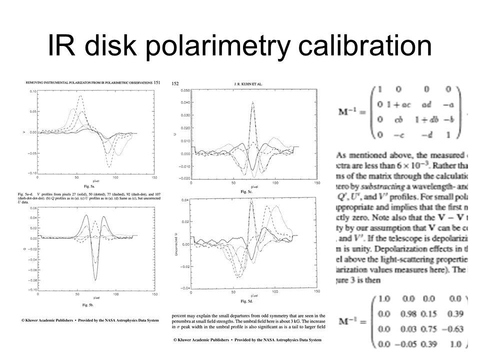 IR disk polarimetry calibration