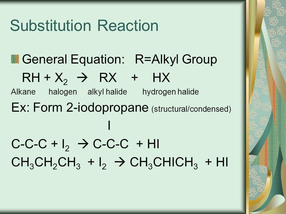 Benzene Undergoes substitution reactions where an atom or a group of atoms replaces a H