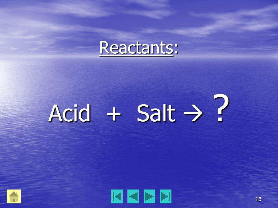 13 Reactants: Acid + Salt  ?