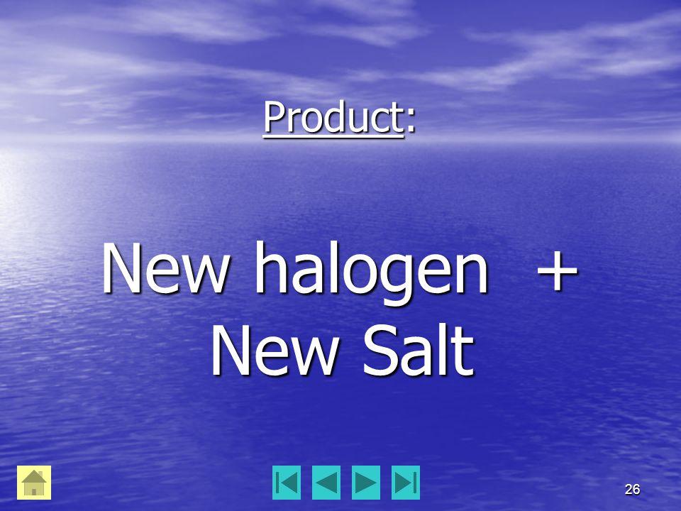 26 Product: New halogen + New Salt
