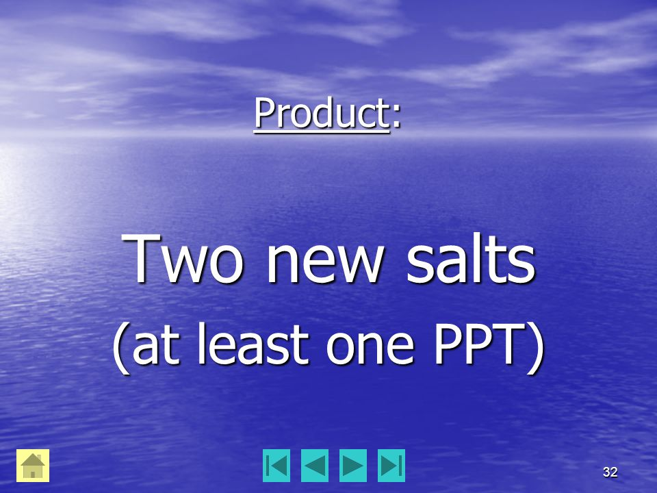 32 Product: Two new salts (at least one PPT)