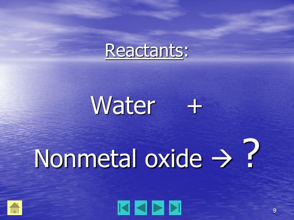 9 Reactants: Water + Nonmetal oxide  ?