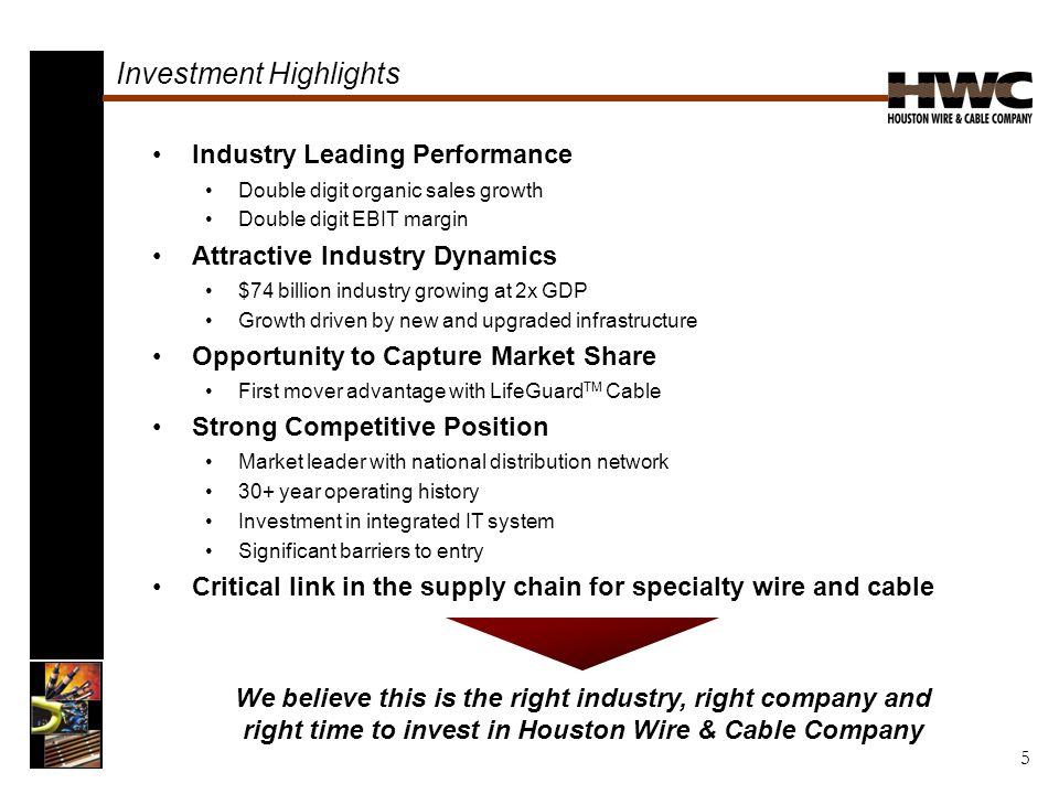 Investment Highlights Industry Leading Performance Double digit organic sales growth Double digit EBIT margin Attractive Industry Dynamics $74 billion industry growing at 2x GDP Growth driven by new and upgraded infrastructure Opportunity to Capture Market Share First mover advantage with LifeGuard TM Cable Strong Competitive Position Market leader with national distribution network 30+ year operating history Investment in integrated IT system Significant barriers to entry Critical link in the supply chain for specialty wire and cable We believe this is the right industry, right company and right time to invest in Houston Wire & Cable Company 5