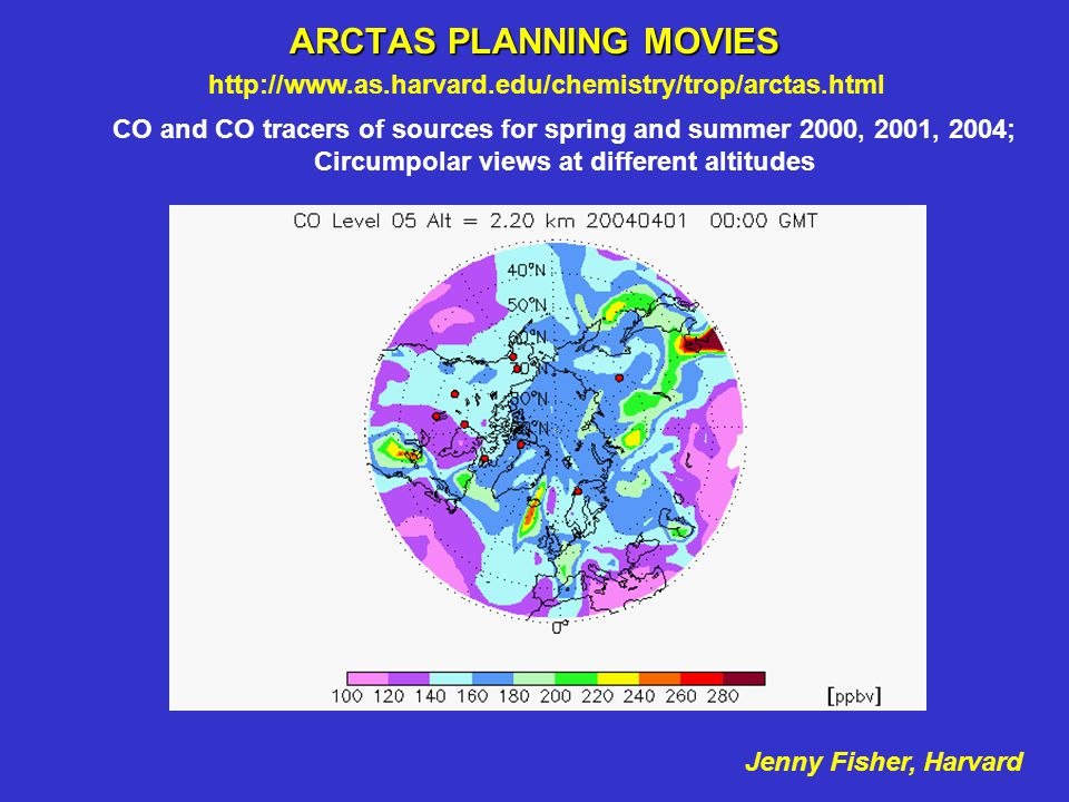 ARCTAS PLANNING MOVIES CO and CO tracers of sources for spring and summer 2000, 2001, 2004; Circumpolar views at different altitudes http://www.as.har