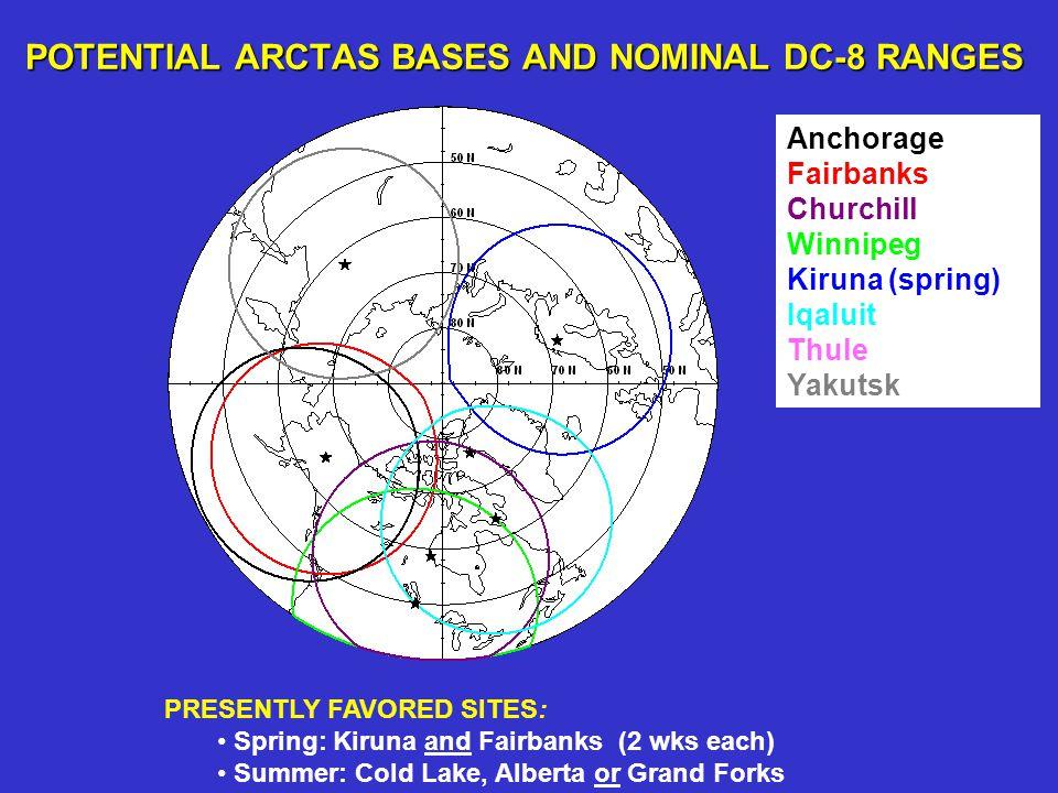 Anchorage Fairbanks Churchill Winnipeg Kiruna (spring) Iqaluit Thule Yakutsk POTENTIAL ARCTAS BASES AND NOMINAL DC-8 RANGES PRESENTLY FAVORED SITES: S