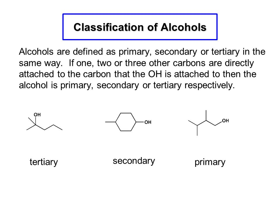 Alcohols are defined as primary, secondary or tertiary in the same way. If one, two or three other carbons are directly attached to the carbon that th