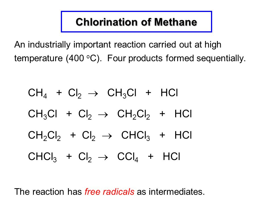 Chlorination of Methane An industrially important reaction carried out at high temperature (400 o C). Four products formed sequentially. CH 4 + Cl 2 