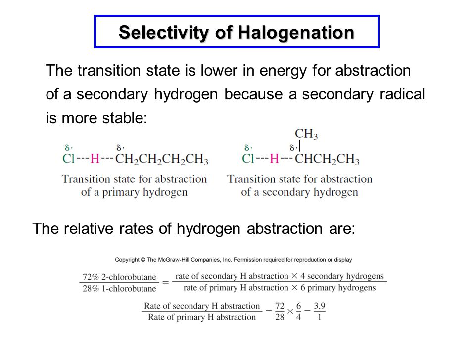 The transition state is lower in energy for abstraction of a secondary hydrogen because a secondary radical is more stable: The relative rates of hydr