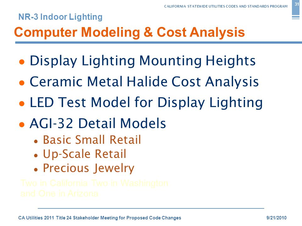 CALIFORNIA STATEWIDE UTILITIES CODES AND STANDARDS PROGRAM NR-3 Indoor Lighting 9/21/2010CA Utilities 2011 Title 24 Stakeholder Meeting for Proposed Code Changes Two in California Two in Washington and One in Arizona 31 Computer Modeling & Cost Analysis ● Display Lighting Mounting Heights ● Ceramic Metal Halide Cost Analysis ● LED Test Model for Display Lighting ● AGI-32 Detail Models ● Basic Small Retail ● Up-Scale Retail ● Precious Jewelry
