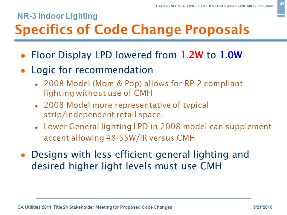 CALIFORNIA STATEWIDE UTILITIES CODES AND STANDARDS PROGRAM NR-3 Indoor Lighting 9/21/2010CA Utilities 2011 Title 24 Stakeholder Meeting for Proposed Code Changes Specifics of Code Change Proposals 49 ● Floor Display LPD lowered from 1.2W to 1.0W ● Logic for recommendation ● 2008 Model (Mom & Pop) allows for RP-2 compliant lighting without use of CMH ● 2008 Model more representative of typical strip/independent retail space.