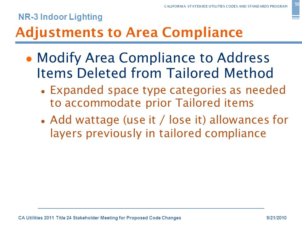 CALIFORNIA STATEWIDE UTILITIES CODES AND STANDARDS PROGRAM NR-3 Indoor Lighting 9/21/2010CA Utilities 2011 Title 24 Stakeholder Meeting for Proposed Code Changes 55 Adjustments to Area Compliance ● Modify Area Compliance to Address Items Deleted from Tailored Method ● Expanded space type categories as needed to accommodate prior Tailored items ● Add wattage (use it / lose it) allowances for layers previously in tailored compliance