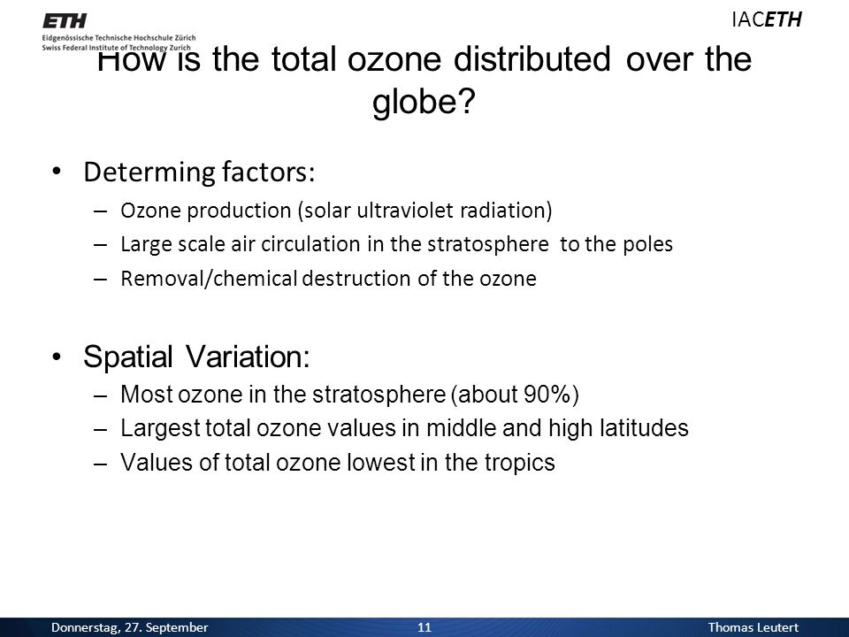 How is the total ozone distributed over the globe.