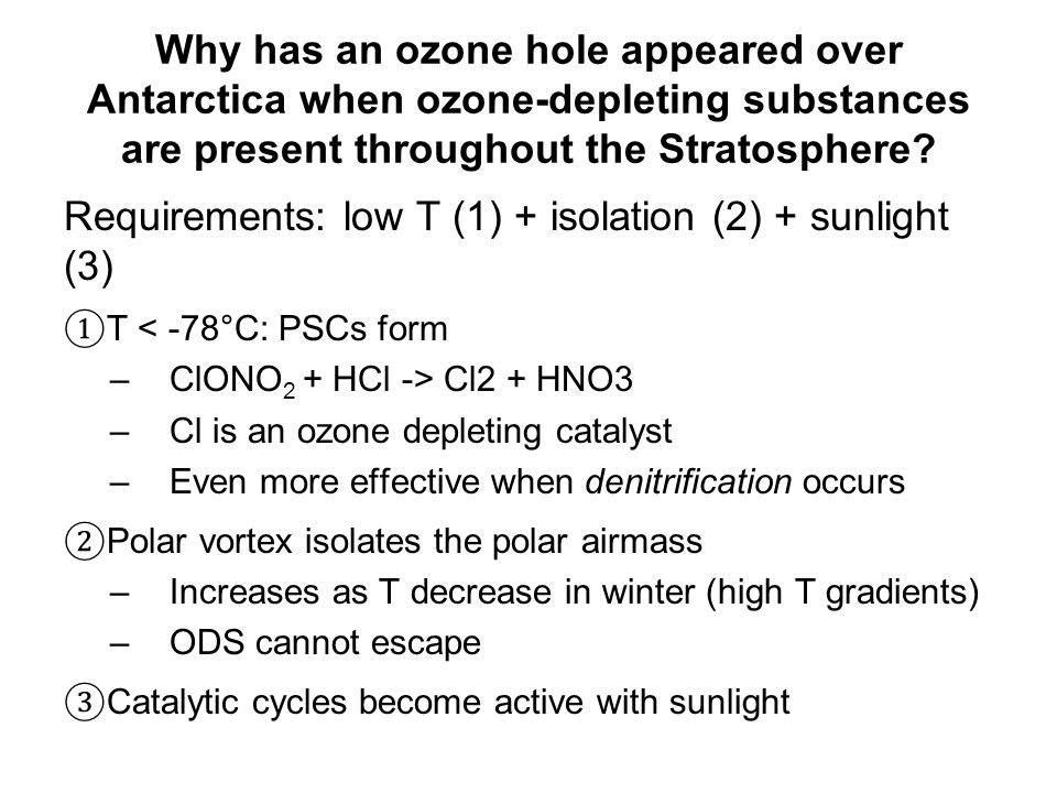 Why has an ozone hole appeared over Antarctica when ozone-depleting substances are present throughout the Stratosphere.