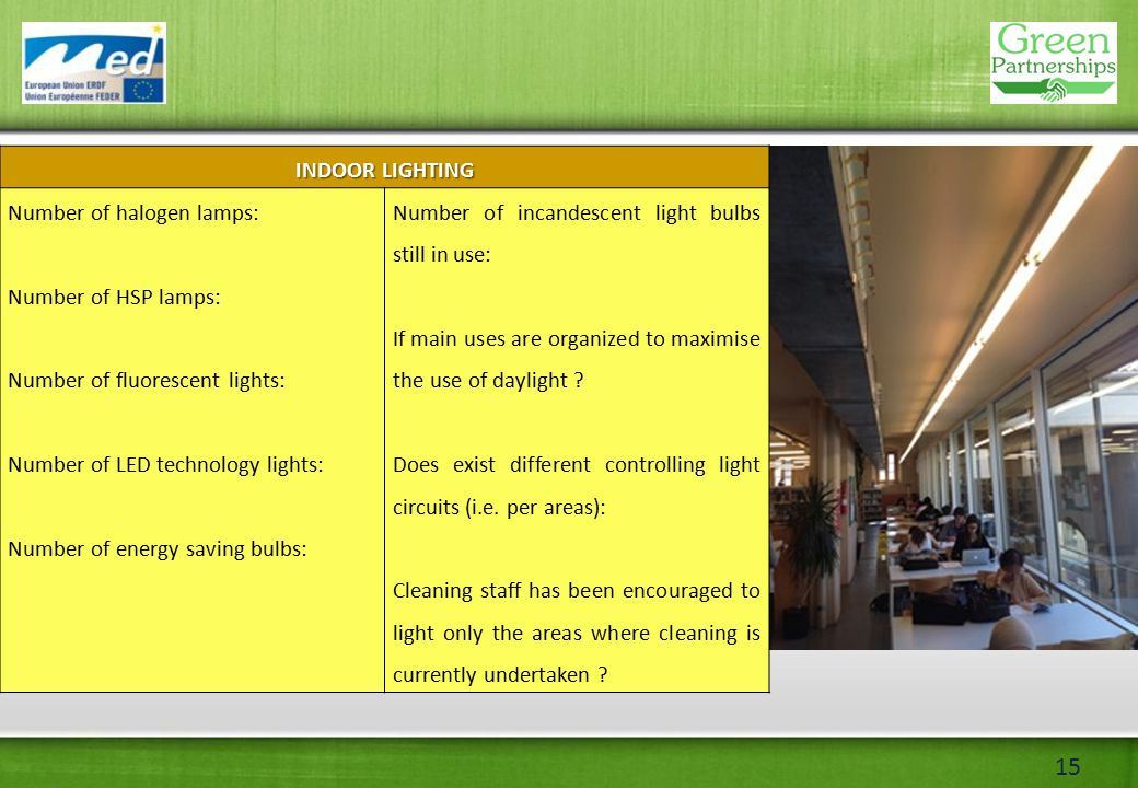 15 INDOOR LIGHTING Number of halogen lamps: Number of HSP lamps: Number of fluorescent lights: Number of LED technology lights: Number of energy saving bulbs: Number of incandescent light bulbs still in use: If main uses are organized to maximise the use of daylight .