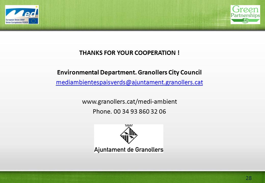 28 THANKS FOR YOUR COOPERATION . Environmental Department.