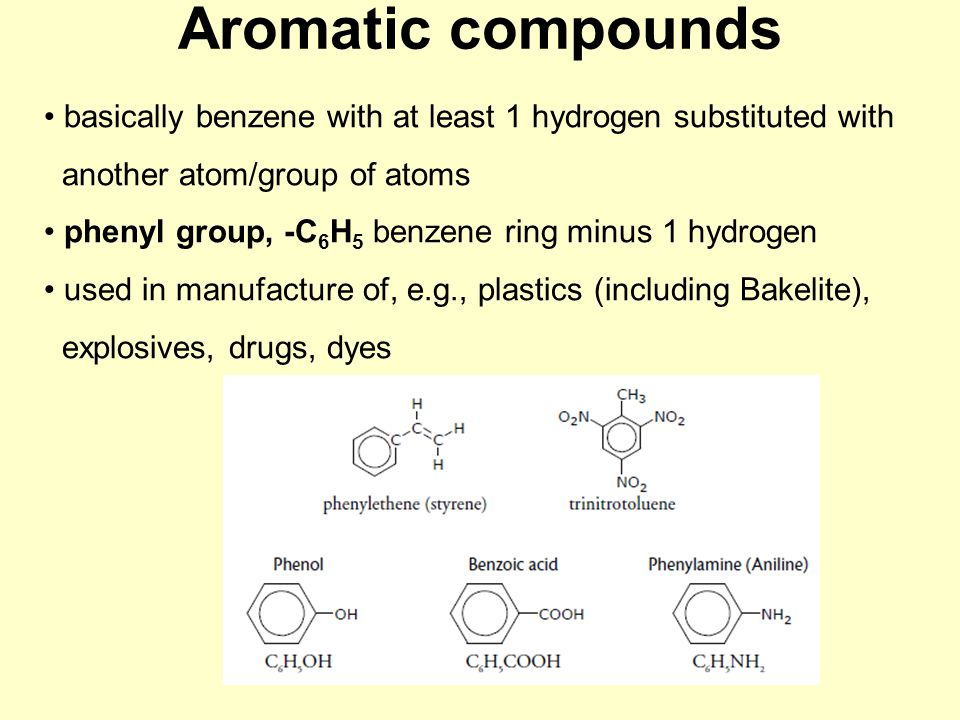 Aromatic compounds basically benzene with at least 1 hydrogen substituted with another atom/group of atoms phenyl group, -C 6 H 5 benzene ring minus 1