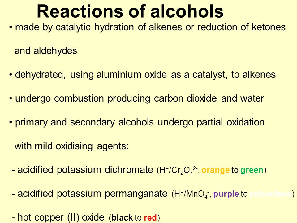 Reactions of alcohols made by catalytic hydration of alkenes or reduction of ketones and aldehydes dehydrated, using aluminium oxide as a catalyst, to