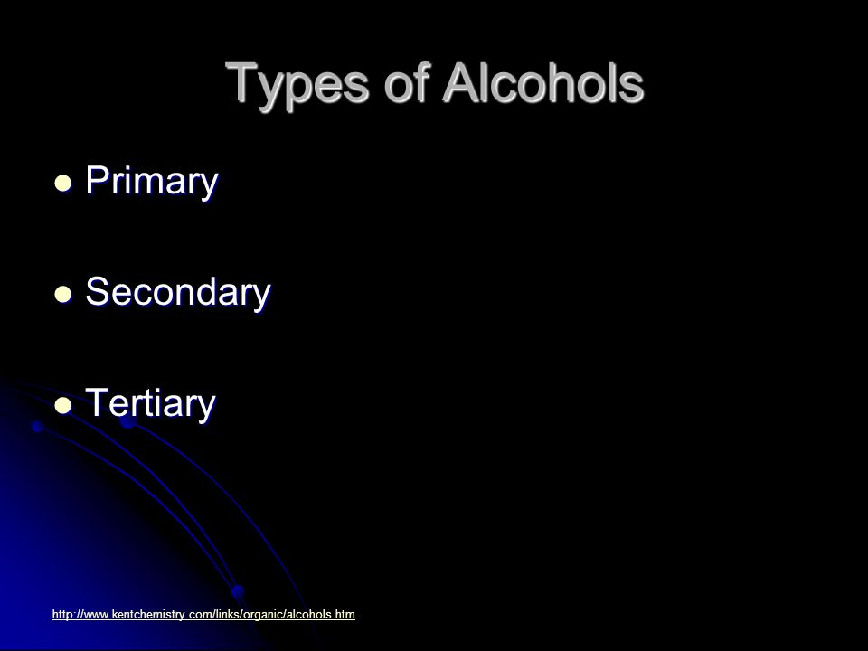 Types of Alcohols Primary Primary Secondary Secondary Tertiary Tertiary http://www.kentchemistry.com/links/organic/alcohols.htm