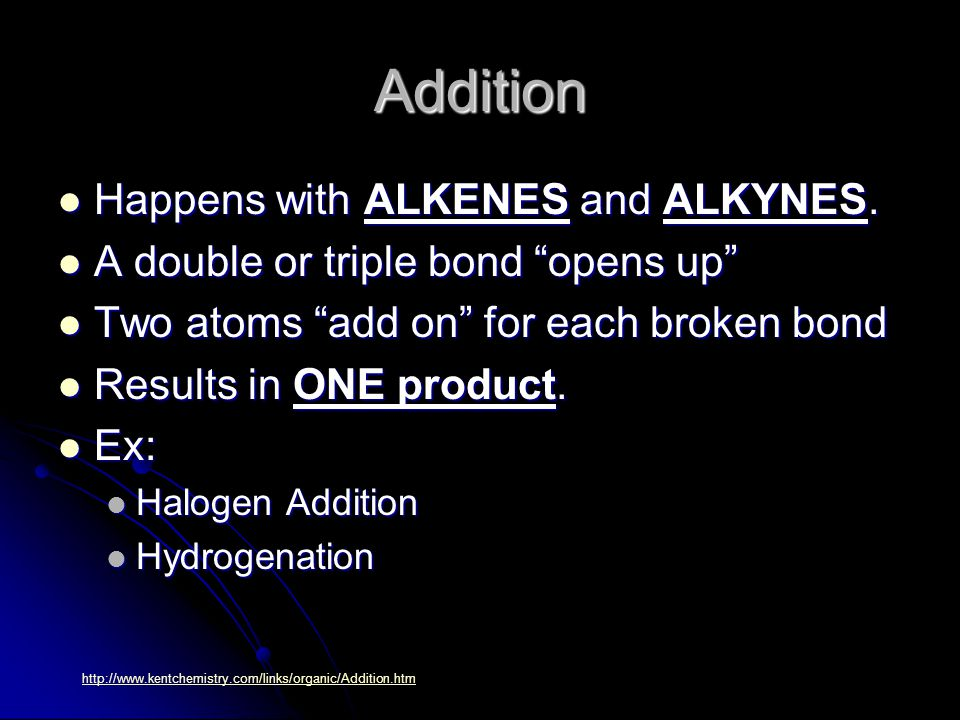 Addition Happens with ALKENES and ALKYNES. Happens with ALKENES and ALKYNES.