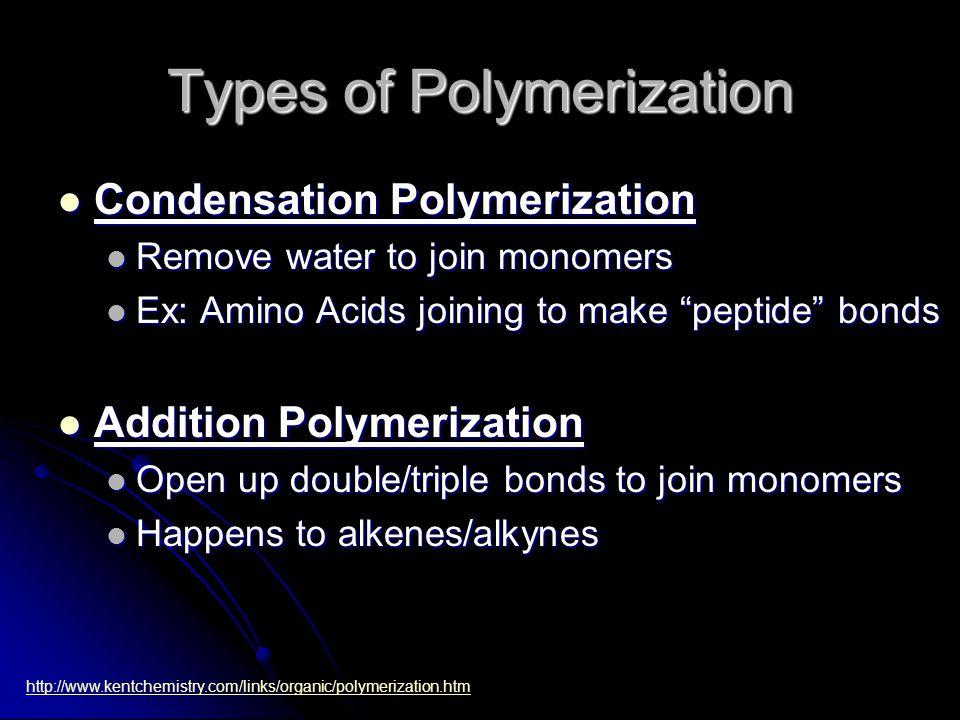 Types of Polymerization Condensation Polymerization Condensation Polymerization Remove water to join monomers Remove water to join monomers Ex: Amino