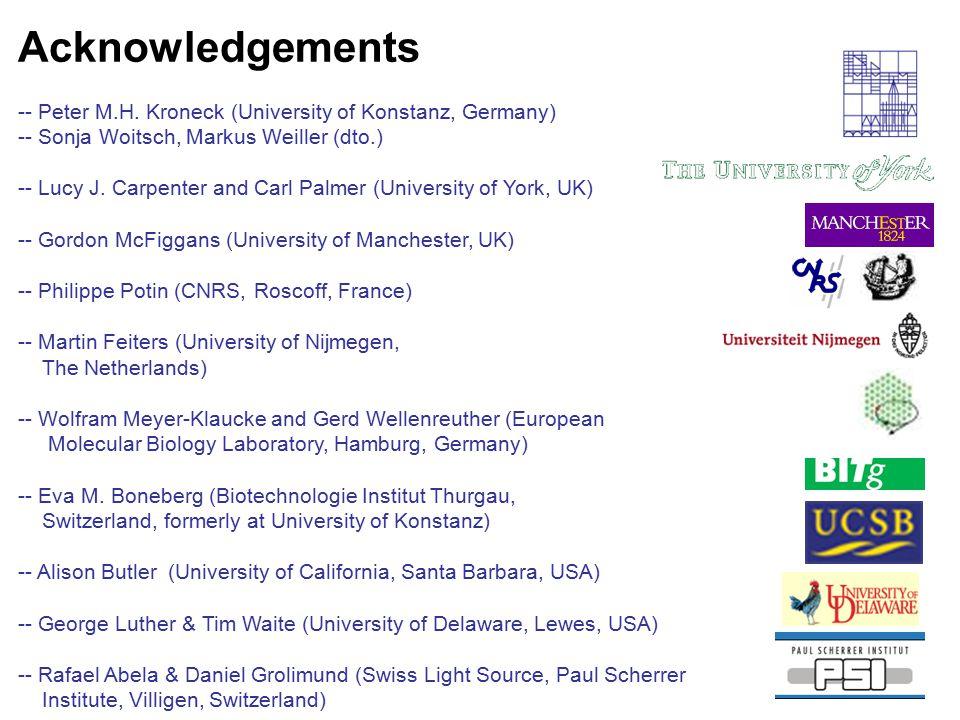 Acknowledgements -- Peter M.H. Kroneck (University of Konstanz, Germany) -- Sonja Woitsch, Markus Weiller (dto.) -- Lucy J. Carpenter and Carl Palmer
