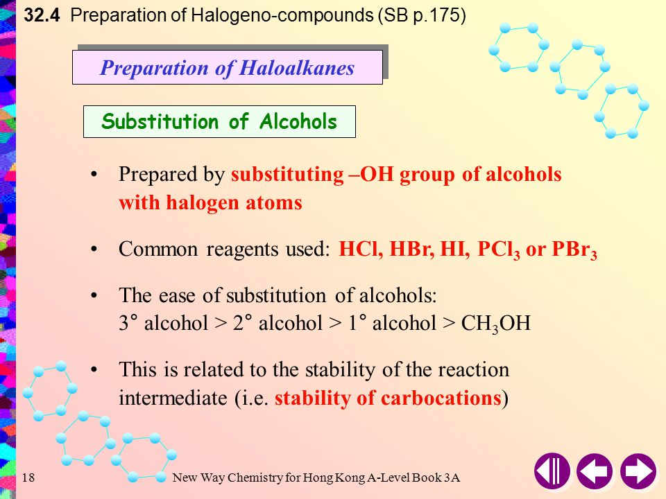 New Way Chemistry for Hong Kong A-Level Book 3A17 32.3 Physical Properties of Halogeno-compounds (SB p.174) Solubility Although C — X bond is polar, it is not polar enough to have a significant effect on the solubility of haloalkanes and halobenzenes  Immiscible with water  Soluble in organic solvents
